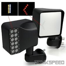 For 07-15 Jeep Wrangler JK Side Mirrors Amber/Red Arrow LED Signal/White LED DRL