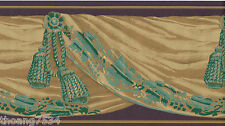 Victorian Brown Green Gold Tassel Swag Drapery Valance Drape Wallpaper Border