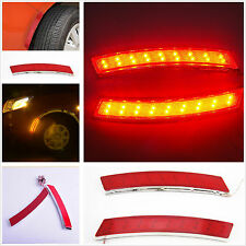 2 Piece SUV Car Red 18 LED Wheel Eyebrow Side Turn Signal Light Indication Light