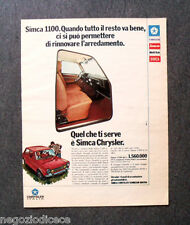 P726 - Advertising Pubblicità -1974- CHRYSLER SIMCA 1100 , QUELLO CHE TI SERVE