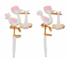 "12 Plastic Pink Stork baby shower favors appliques picks 7"" tall"