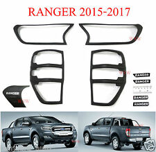 Ford Ranger PX Wildtrak T6 MK2 2G Matte Black Front Rear Tail Light Lamp Cover