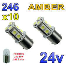 10 x Amber 24v LED BA15s 246 R10W 13 SMD Number Plate Interior Bulbs HGV Truck