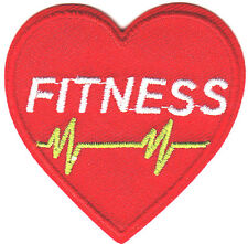"""""""FITNESS"""" RED HEART - Iron On Embroidered Patch - Nurse, Medic, Professions"""