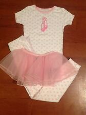 Carters Girls 3 Pc Pink Ballerina Ballet Heart Tutu Pajamas Sleepwear Set Size 7