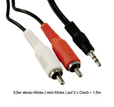 Y-Kabel  Klinke auf 2 x Cinch 1,5m Audiokabel  Adapterkabel Computerkabel Kabel