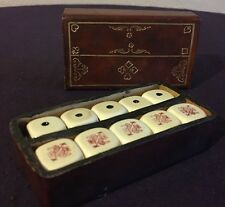 VINTAGE POKER DICE GAME  DICE  STORAGE CASE EMBOSSED