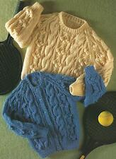 "Baby Girls Boys Aran Knitting Pattern Cardigan Sweater 20-28""      179"