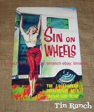 retro VINTAGE CARAVAN TIN SIGN Sin on Wheels TRAILER trash camper glamping 50s