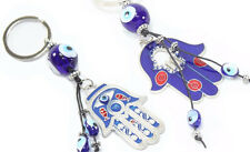 2 Blue Evil Eye Hamsa Hand Keychain Blessing Protection Religious Gift Accessory