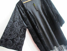 MODA Womens Burnout Velvet Kimono XL black fringe trim Cardigan Jacket STRETCH