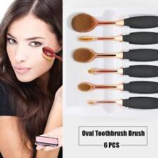 Rose Golden 6Pcs Oval Toothbrush Makeup Powder Lip Eyeshadow Brushes Set