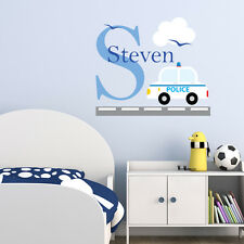POLICE CAR PERSONALISED CHILDREN'S BEDROOM PLAYROOM WALL STICKER DECAL VINYL