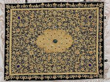 Jewel Carpet Wall Hanging – Royal Gold Zardozi Kashmiri Handicraft from India