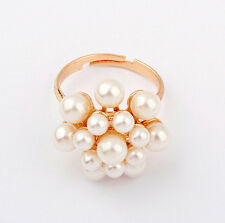 New Fashion Women Gold Plated Simulated Pearl Flower Ring Women's Jewelry Party