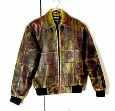 Vtg Marc Buchanon Distressed Green Pelle Pelle Leather Bomber Jacket Sz 16 M /L