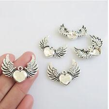 10x Tibetan Silver Angel Wings & Heart Charms Pendants Jewellery Making 35*15mm