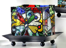 ROMERO BRITTO GLASS CANDLE HOLDER  - BUTTERFLY -