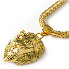 Real 18K Gold Plated Hiphop Men's Lion Head Pendant Necklace & 75cm Gold Chain A