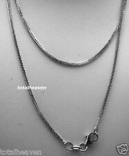 """NEW 16"""" ITALIAN Solid 14K White Gold Square Wheat Chain 1.6g Lobster Clasp"""