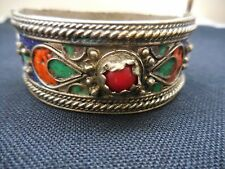 Moroccan Kabyle/Berber Colorful Enameled & Coral Hinged Cuff Bracelet Vintage