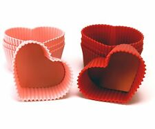 """Tovolo Pink & Red Heart Silicone 2.5"""" Muffin / Cupcake Cups / Molds - Set of 8"""