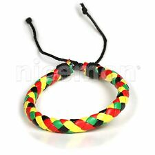 Rasta Leather Wrist Bracelet Hippie Cuff Love Hawaii Surfer Reggae Marley RGY