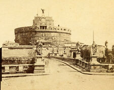 ROME ITALY STEREOVIEW CASTEL SAN ANGELO or MAUSOLEUM OF HADRIAN PAPAL FORTRESS