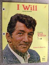 1962 I WILL Vintage Sheet Music DEAN MARTIN by Dick Glasser