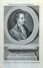 GEORGE KEPPEL, VISCOUNT BURY, EARL OF ALBEMARLE, antique portrait print 1763