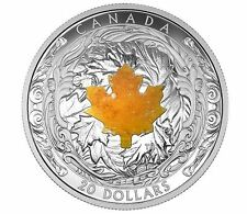 2016 $20 1oz 99.99% PURE FINE SILVER  MAJESTIC MAPLE LEAVES WITH DRUSY STONE