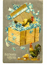 Chickens in Wood Crate Box-Blue Flowers-Easter Greeting Holiday Vintage Postcard