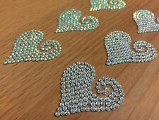 Self Adhesive 6 x 35mm AB SWIRL HEARTS Stick On GEMS Craft Wedding Valentines