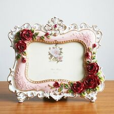 Retro Style Red Pink Rose Flower Home Decor Photo Frame Picture Resin 6'' X 4''
