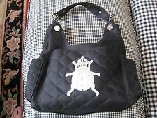 My Flat in London Quilted Nylon Handbag Purse Black with Gemstone Frog