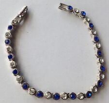bracelet année 1970 solitaire cristaux diamant et bleu saphir couleur argent 159