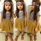 Baby Girls Dress Stripe T-Shirt+Skirt Tulle Two-piece Outfits Tutu Dresses 2-8Y