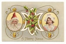 OLD VINTAGE MR. & MRS. SANTA CLAUS MERRY CHRISTMAS XMAS CARD POSTCARD