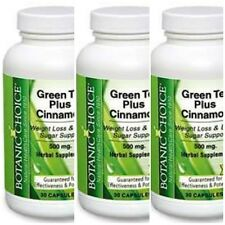 3  BOTTLE GREEN TEA PLUS CINNAMON WEIGHT LOSS SUPPORT 500mg 90 CAPSULES