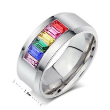 Men/Women's Titanium Steel Ring Rainbow Colorful Crystal Wedding Band Size 5-12
