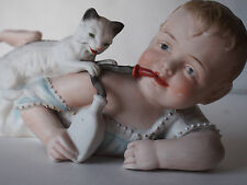 Large Antique German Piano Baby~Siamese Cat Feline Plays Straw Milk Bottle~10""