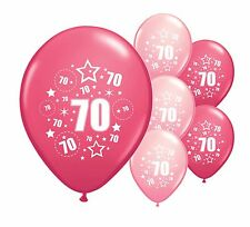 """16 x 70TH BIRTHDAY PINK MIX 12"""" HELIUM OR AIRFILL BALLOONS (PA)"""