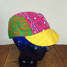 Vintage 80s 90s Wendys Bicycle Racing Hat Cap Neon Dayglo Adult Mens Large Surf