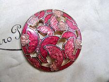 VINTAGE gioielli splendido Cloisonne Smalto Farfalla & Fiore Spilla Scialle Pin