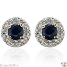 18K YELLOW GOLD & BRASS GENUINE  SAPPHIRE EARRINGS! NEW! GIFT! FREE SHIP! TINY!