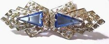 FANTASTIC RHINESTONE AND BLUE GLASS ART DECO BUCKLE TWO PIECE VINTAGE PRONG SET