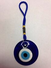 "TURKISH GLASS EVIL EYE HANGING AMULET FOR GOOD LUCK AND PROTECTION APPROX. 2"" D"