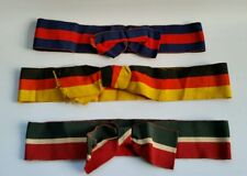 Vintage 1920s Bulk Lot X3 of Straw Boater Hat Ribbons Bows National Colours