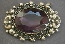 NR522) VINTAGE ANTIQUE SIGNED ITALY SILVER TONE MAUVE AMETHYST GLASS BROOCH SIZE