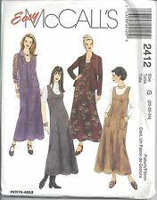 McCalls Sewing Pattern # 2412 Misses Jumper and Shirt-Jacket Size 20-22-24